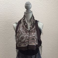 Fringed Paisley Scarf (Made In India)