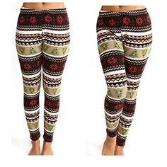 Womens Multicolor Printed Knitted Fleece Lined Winter Christmas Leggings >>> Check this awesome product by going to the link at the image.