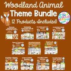 Woodland Animal Themed Literacy Bundle **11 Products Included** | TpT Reading Genre Posters, Reading Genres, Math Properties, Commonly Confused Words, Homographs, Woodland Animals Theme, Types Of Sentences, Story Elements, Type Posters