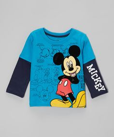Take a look at this Blue Mickey Layered Tee - Toddler by Disney on #zulily today! $12 !!