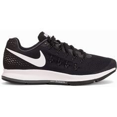 Nike Air Zoom Pegasus 33 ($155) ❤ liked on Polyvore featuring shoes, athletic shoes, black, running shoes, sports fashion, womens-fashion, sport shoes, black running shoes, lace up shoes and nike shoes