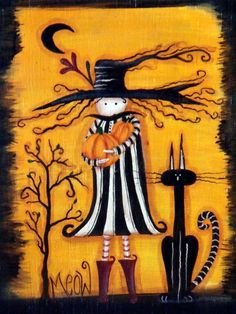 Here Jenny is offering this hand painted Halloween cigar box. It can be used as a trinket box, jewelry box, or whatever your heart desires. The box measures 7-1/2 x 6 x 3-1/2 in size and was originally a vintage wooden cigar box. The box is based on a pattern by Monika Brint and features a folk art witch in black and cream holding pumpkins in her hands. Beside her is a black cat and crooked tree with a moon in the sky. The box is done in black with orange and cream. It has a metal clasp…