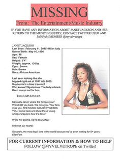 Janet Jackson missing? Singer responds to flyer claiming she disappeared.