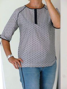 Top Manches Raglan avec patron Couture, Bleu Marine, Polka Dot Top, T Shirt, Blouse, Long Sleeve, Sleeves, Tops, Women