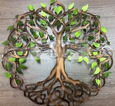 """Infinity Tree of Life by Humdinger Designs With roots that twine and strengthen our future, branches of dreams we weave together......Infinite is our love, happiness our forever. This tree is 38"""" Diameter. This tree is cut from cold rolled steel or 5052 aluminum and comes with"""