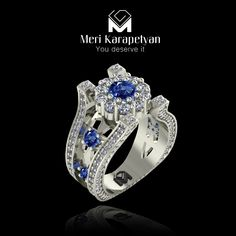www.merikarapetyan.com  BRĪTSPYR  #ring A gorgeous rare Blue-Green Tourmaline is surrounded by brilliant-cut Ethical Diamonds forming a powerful flower shape set atop four square minarets inlayed by diamonds and looping around the Platinum band that is split open by accent gems. Inspired by architecture, this limited-edition ring is a castle for peace, love and happiness. This collection of fine jewelry is the culmination of design visions from Italy, Austria, Armenia, France and the UK…