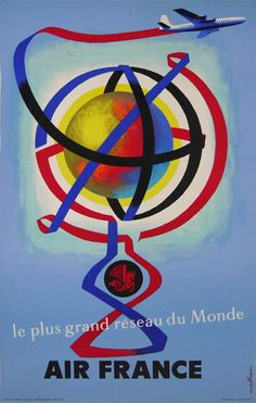 Air France - The Greatest World Network (Grand Reseau du Monde) - Vintage Airline Travel Poster by Jacques Nathan-Garamond - Master Art Print - x -- Awesome products selected by Anna Churchill Travel Ads, Airline Travel, Air Travel, Travel Photos, Air France, Belle Epoque, Online Travel Agent, Vintage Travel Posters, Vintage Airline