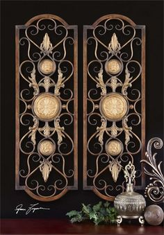 This Decorative Wall Art Is Made Of Hand Forged And Hand Embossed Metal. The Finish Is Distressed, Chestnut With Burnished Edges And Antiqued Gold Details. Companion Piece Is Item #13476.Dimensions: 4