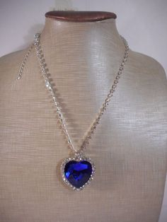 Necklace Blue Large Heart Crystal Rhinestones BOX