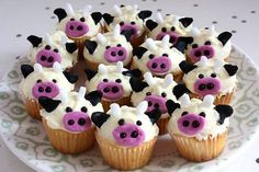 Cow cupcakes!! Cupcakes with cows on!! All this equation needs is cheese and chocolates and I'm in heaven!!