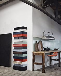 a column made of drawers   by Danish interior stylist Gitte Kjaer