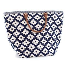 Fresh American   Fresh American Le Tote Navy/Ivory Tote Bag Grand   Snappy style is in the bag! Our sweetly smart yet rough-and-tumble tote bags—made of durable polypropylene with leather handles—are an easy way to add pizazz to your favorite outfit. Available in three patterns and sizes.