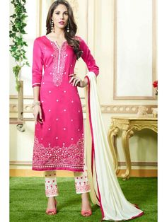 Mystical Pink and White Embroidered Salwar Kameez
