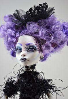 OOAK Monster High Spectra Gothic Custom Repaint Art Doll Belladonna The Witch .....Very Effi!