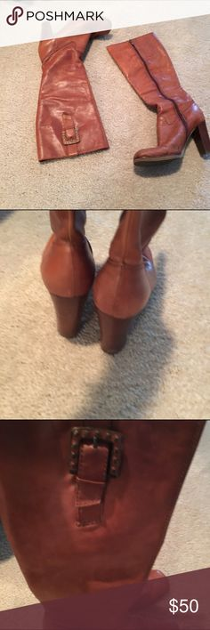 Nine West Leather Boots Beautiful brown leather boots. Soft Leather Square heel, buckle on the side. Size 6.5. Good condition. Nine West Shoes Heeled Boots