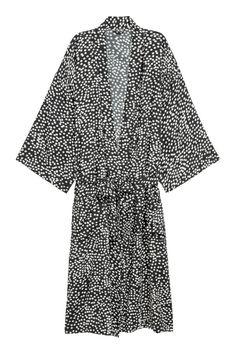 Viscose Bathrobe   Black/white dotted   H&M HOME   H&M US
