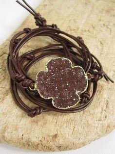 Agate Druzy Bracelet Drusy Quartz Knotted Brown by julianneblumlo, $98.00