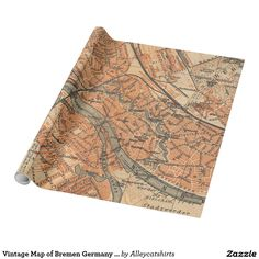 Vintage Map of Bremen Germany (1910) Wrapping Paper
