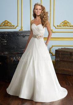 Sweetheart Princess Satin Zipper up Floor Length Sleeveless Wedding Dress