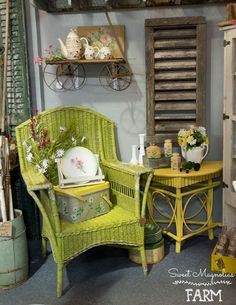 Sweet Magnolias Farm Shop Display Vignette ~ Farm Cottage Style ~Wicker ~ twig Table ~ House Vent ~ Spring Decor @CampFleaAntiqueMall in Ozark, MO space # 777 ... 3-9-2018