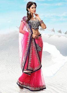 Peppy Pink Net Saree