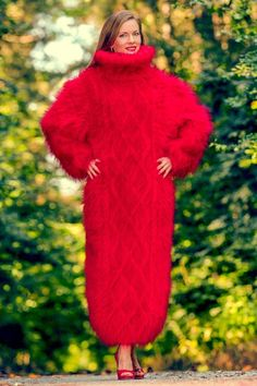 Red hand knitted long mohair sweater dress SUPERTANYA fuzzy thick gown ON SALE #SuperTanya #TurtleneckMock