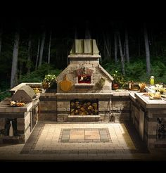 Brick Pizza Oven in backyard with grill, etc. For my husband. Lol