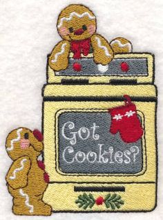Threadsketches' set Sprinkles on Top - Christmas machine embroidery design, got cookies? gingerbread with oven