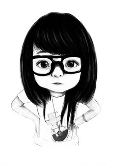Illustration #girl #blackandwhite #glasses @Vanessa Samurio Romero  TE ENCONTRÉ!!! así córtate el pelo!!!! :D