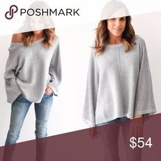 """Ribbed Knit Flared Dolman Sleeve Sweater Top Grey Soft ribbed knit, chic wide bell sleeves.  Size XL Bust 46"""" Waist 39"""" Hem 41"""" Sleeves 19""""  ❌ Sorry, no trades.  loose fit cable waffle knit slouchy oversized ribbed sweater eyelet ruffle sleeve  fairlygirly fairlygirly Sweaters Crew & Scoop Necks"""