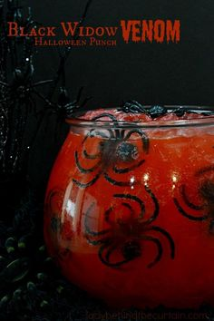 Black Widow Venom Halloween Punch A wickedly delicious punch for kids Everyone loves a good punch This Halloween party punch may look creepy but it doesnt disappoint in. Halloween Cocktails, Halloween Fruit, Fete Halloween, Halloween Goodies, Halloween Food For Party, Halloween Desserts, Halloween Birthday, Halloween Cupcakes, Holidays Halloween