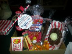 So much fun to take home! Buttered popcorn jelly belly, gummy hot dogs, cracker jacks, and coke. What's not to love?