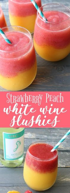 will love these strawberry peach white wine slushies - super easy to make and the perfect drink for your summer entertaining!You will love these strawberry peach white wine slushies - super easy to make and the perfect drink for your summer entertaining! Blended Drinks, Mixed Drinks With Wine, Alcohol Drink Recipes, Slushy Alcohol Drinks, Fun Summer Drinks Alcohol, Summer Mixed Drinks, Summer Drink Recipes, Easy Mixed Drinks, Frozen Drink Recipes