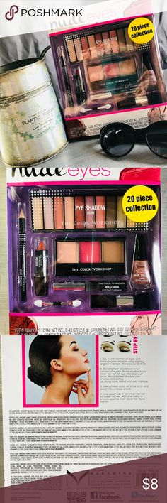 Nude Eyes The color workshop includes 11 eye shadows, Blush, Contour, Lipstick, Eye Pencil, Mascara and Nail polish This 20 piece colleciton is a must have Markwins Makeup