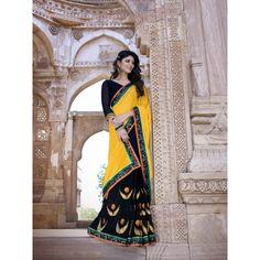 Gnarly Yellow Color Georgette Designer Saree comes with Black Color Dhupian Blouse. It contained the Embroidery, Jacquared work with Lace border. The Blouse can be customized up to bust size 44