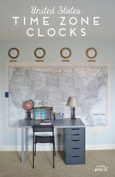 United States Time Zone Clocks (The clocks were only $4 each at Dollar General!) #ad