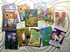 """Cartoon ACEO Art Print Collection A set of 10 lowbrow animals fox dinosaur wizard narwhale mermaid elephant owl cat unicorn comic illustration  buy now      $15.00   Cartoon ACEO Art Print Set A – set of 10 double sided cards! *""""ACEO"""" is an acronym for Art Cards, Editions, and Originals. These are highly collectible and very fun, and the only rule for ACEOs is that they are the size of a baseball/playing card (2.5″ x 3.5″)* A set of ten ACEO art prints from my original cartoon illust.."""
