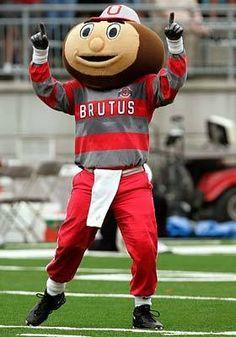 Ohio State University -- Brutus the Buckeye Ohio State Basketball, Ohio State Football, Ohio State University, Ohio State Buckeyes, College Football, Basketball Court, Oklahoma Sooners, American Football, The Buckeye State