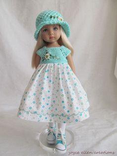 "13"" Dianna Effner Little Darling Fashion AQUA & white rose OOAK handmade by JEC  | eBay"