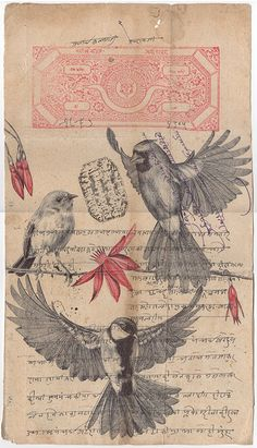 'flock together' bic biro drawing on an antique Indian on Behance