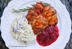 Gourmet Girl Cooks: Easy Grilled Chipotle Chicken, Coleslaw & Cranberry-Strawberry Sauce