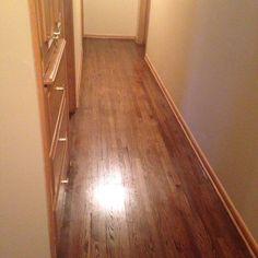 DuraSeal Dark Walnut Stain on Red Oak with Bona HD Traffic in Satin Hardwood Floor Stain Colors, Refinishing Hardwood Floors, Red Oak Floors, Paint Colors, Tile Floor, House Design, Flooring, Satin