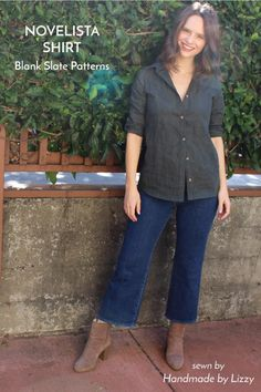 Novelista Shirt sewing pattern by Blank Slate Patterns sewn by Handmade by Lizzy Pdf Sewing Patterns, Dress Patterns, Sewing Clothes Women, Clothes For Women, Sewing Hacks, Sewing Tips, Sewing Ideas, Sewing Projects, Sewing Shirts