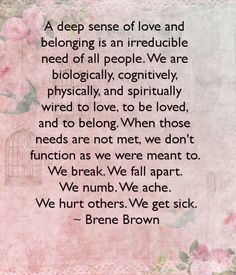 A deep sense of love and belonging is an irreducible need of all people...Brene Brown