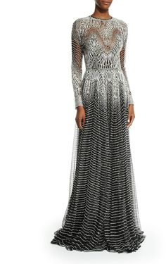 Naeem Khan Metallic-Wave Illusion Gown, Silver/Black A SUCCESSFUL PRINT WITH EXCELLENT PROPORTIONS