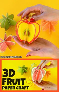 Let's make a bowl of paper fruit! We prepared these paper fruit craft templ… Let's make a bowl of paper fruit! We prepared these paper fruit craft templates that are perfect both for decoration or for making a set of pretend play fruit with your kids. Paper Crafts For Kids, Crafts To Do, Preschool Crafts, Diy For Kids, Easy Crafts, Decor Crafts, 3d Paper Crafts, Fruit Crafts, Apple Crafts