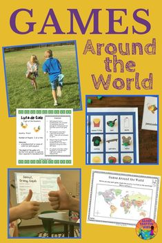 Connect children to their peers around the world and develop geographic and cultural awareness with Games Around the World.  35 fun and engaging traditional children's games from more than 20 countries. Each game card includes clear instructions to prepare and play the game, its country of origin, and printables when necessary. #Games #GamesAroundTheWorld #GlobalEd #ClassroomFun #Parents #Teachers #ElemEd
