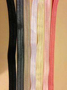 5/8 Fold Over Elastic in Solid Colors,Elastic by the Yard, FOE, Foldover Elastic, Satin Elastic, foe, Headband Elastic, on Etsy, $0.50