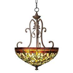 """Robert Louis Tiffany 18"""" Wide Two Light Pendant Chandelier"""