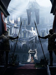 like the layout of the room, instead of the roman dude a cool statue/sculpture of an winged human would be awesome, looking foreboding and guarding the throne. and have trees or some have the place look a bit crumbly with plants